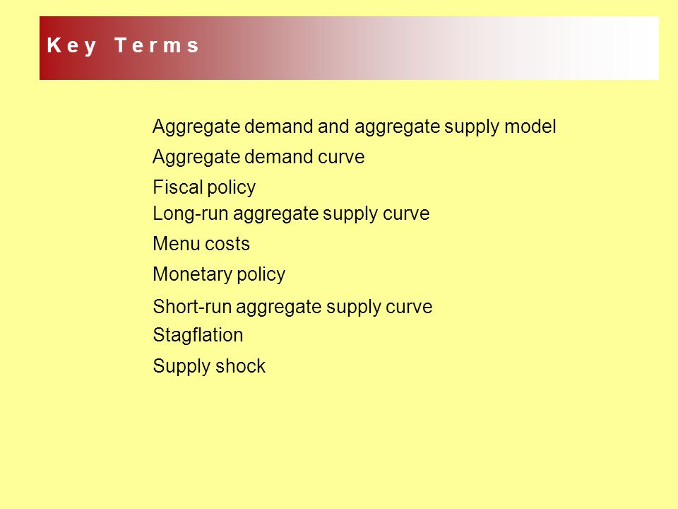Aggregate demand and aggregate supply model Aggregate demand curve Fiscal policy Long-run aggregate supply curve Menu costs Monetary policy Short-run