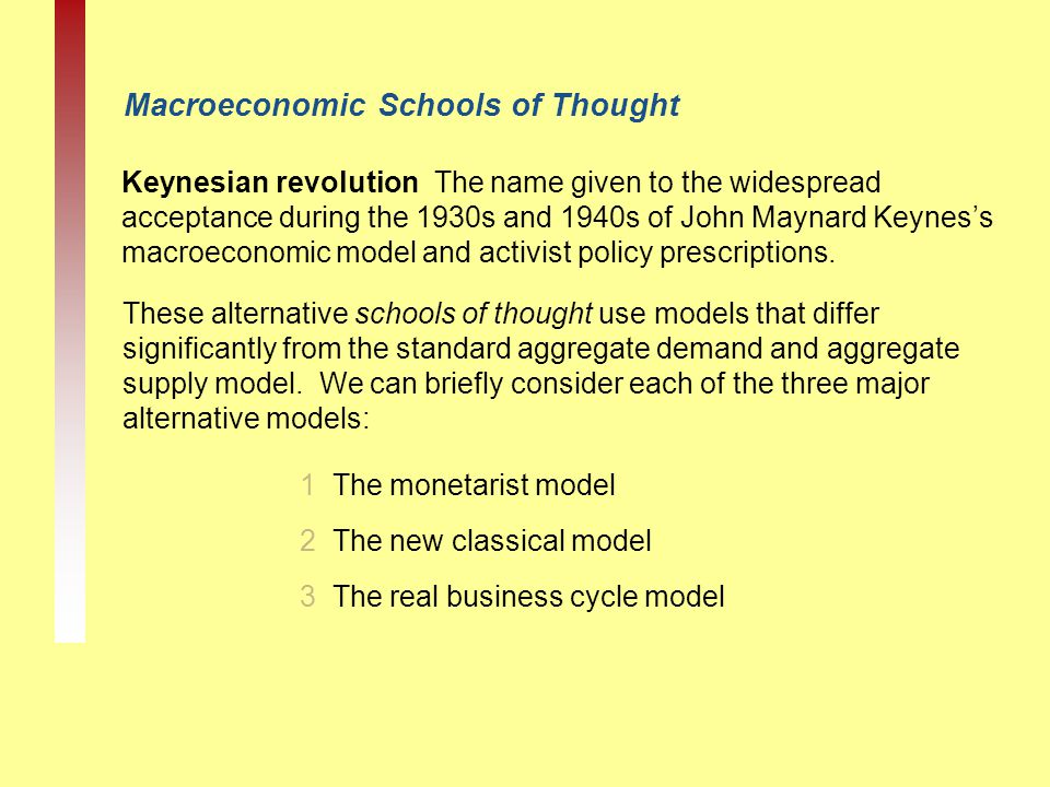 Macroeconomic Schools of Thought Keynesian revolution The name given to the widespread acceptance during the 1930s and 1940s of John Maynard Keynes's