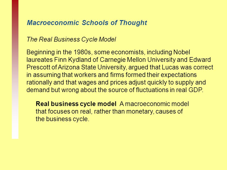 Macroeconomic Schools of Thought The Real Business Cycle Model Real business cycle model A macroeconomic model that focuses on real, rather than monet