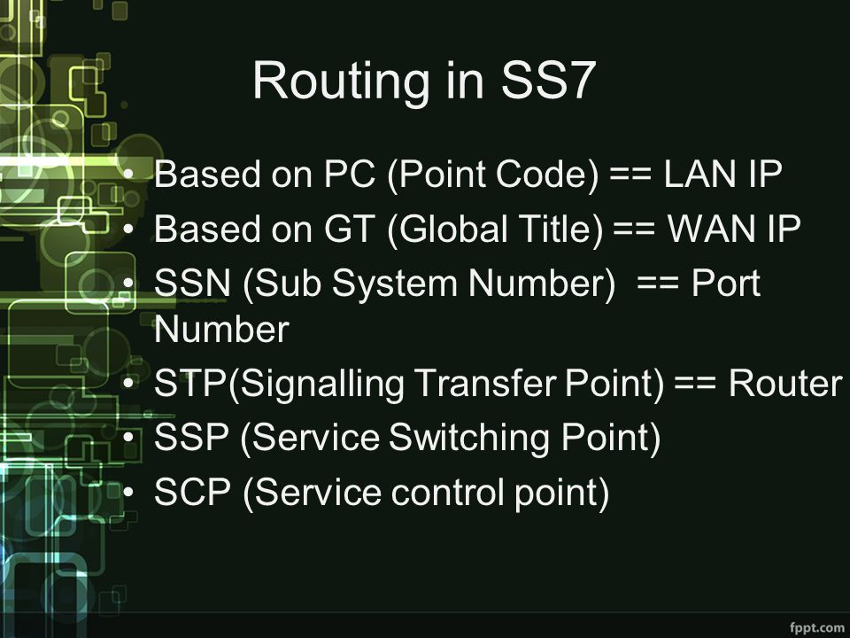 Routing in SS7 Based on PC (Point Code) == LAN IP Based on GT (Global Title) == WAN IP SSN (Sub System Number) == Port Number STP(Signalling Transfer Point) == Router SSP (Service Switching Point) SCP (Service control point)