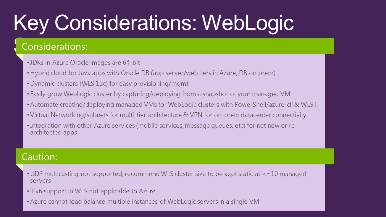 JDKs in Azure Oracle images are 64-bit Hybrid cloud for Java apps with Oracle DB (app server/web tiers in Azure, DB on prem) Dynamic clusters (WLS 12c) for easy provisioning/mgmt Easily grow WebLogic cluster by capturing/deploying from a snapshot of your managed VM Automate creating/deploying managed VMs for WebLogic clusters with PowerShell/azure-cli & WLST Virtual Networking/subnets for multi-tier architecture & VPN for on-prem datacenter connectivity Integration with other Azure services (mobile services, message queues, etc) for net new or re- architected apps Considerations: UDP multicasting not supported, recommend WLS cluster size to be kept static at <=10 managed servers IPv6 support in WLS not applicable to Azure Azure cannot load balance multiple instances of WebLogic servers in a single VM Caution: