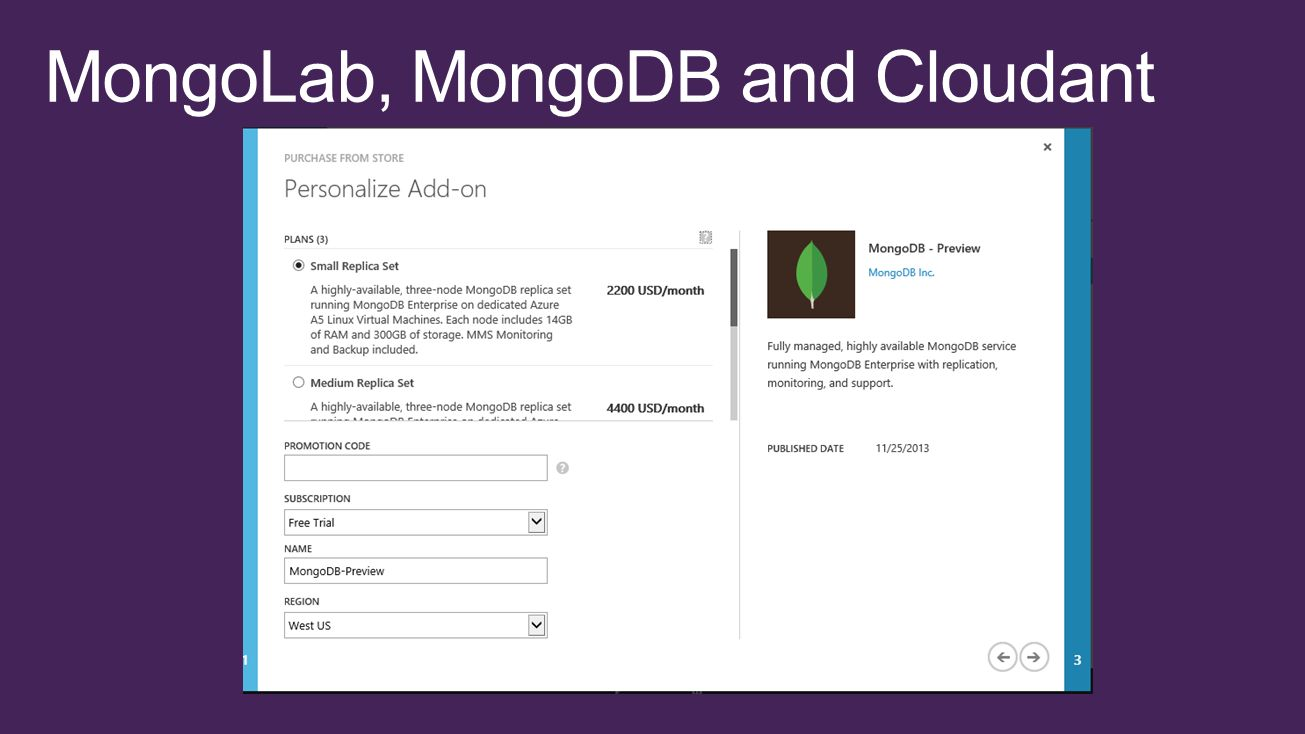 MongoLab, MongoDB and Cloudant