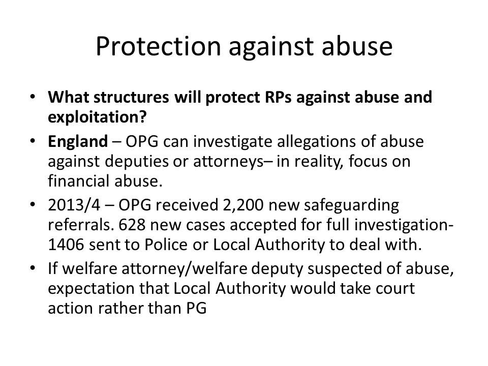 Protection against abuse What structures will protect RPs against abuse and exploitation.