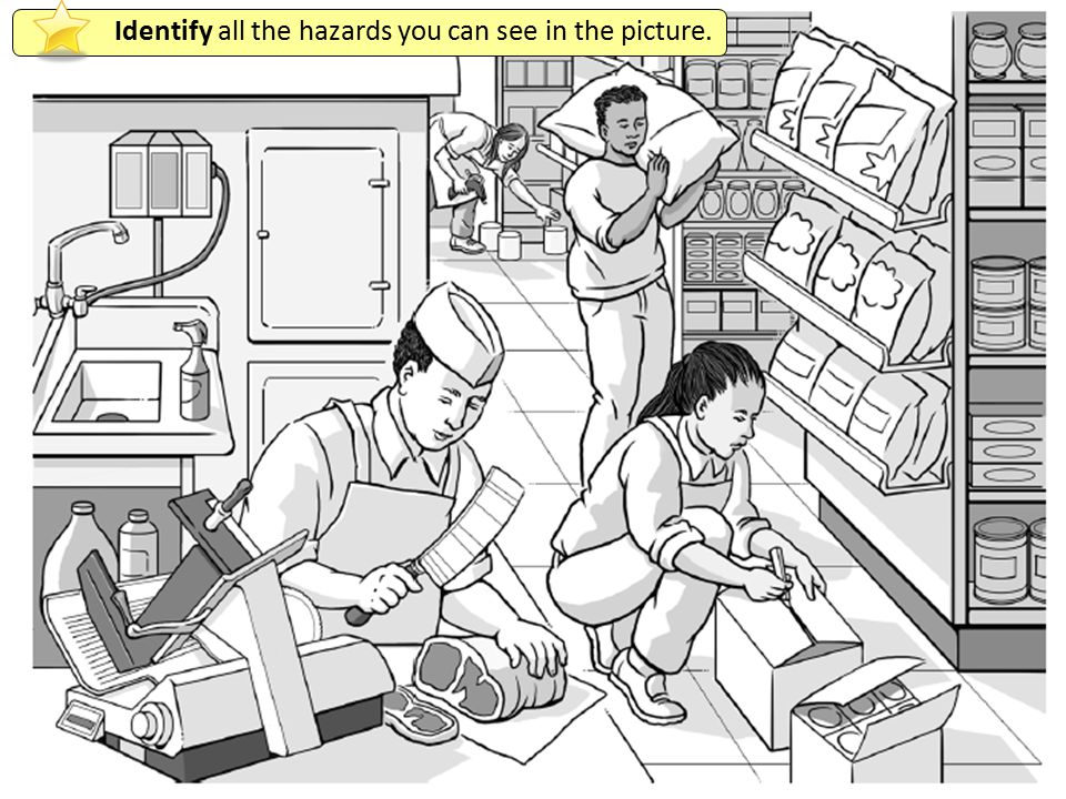 Identify all the hazards you can see in the picture.
