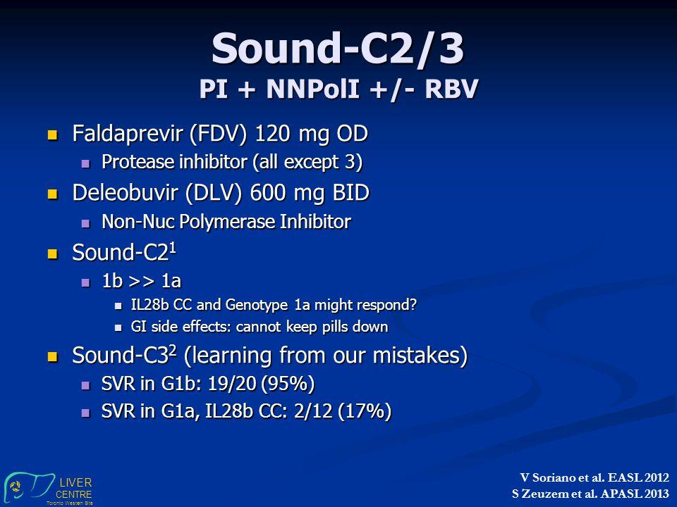 LIVER CENTRE Toronto Western Site Sound-C2/3 PI + NNPolI +/- RBV Faldaprevir (FDV) 120 mg OD Faldaprevir (FDV) 120 mg OD Protease inhibitor (all except 3) Protease inhibitor (all except 3) Deleobuvir (DLV) 600 mg BID Deleobuvir (DLV) 600 mg BID Non-Nuc Polymerase Inhibitor Non-Nuc Polymerase Inhibitor Sound-C2 1 Sound-C2 1 1b >> 1a 1b >> 1a IL28b CC and Genotype 1a might respond.