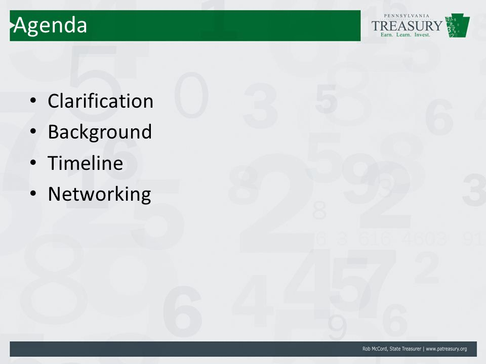 Agenda Clarification Background Timeline Networking