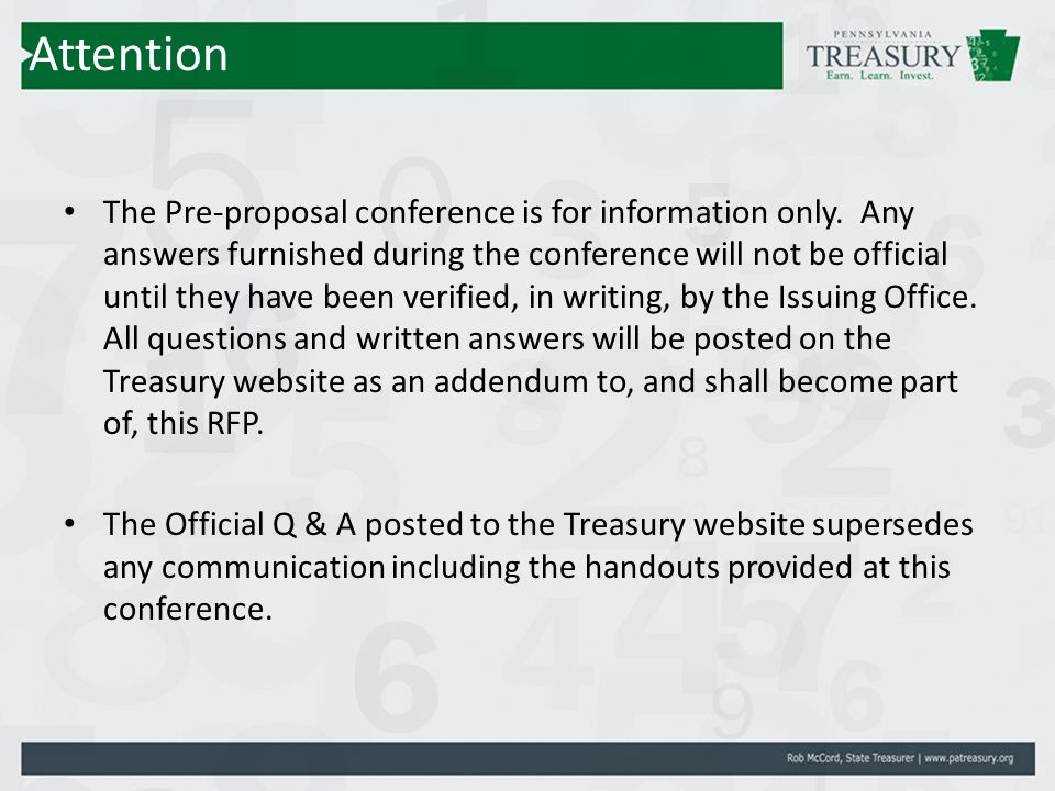 Attention The Pre-proposal conference is for information only.