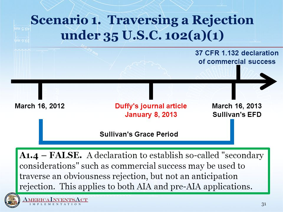 Scenario 1. Traversing a Rejection under 35 U.S.C.