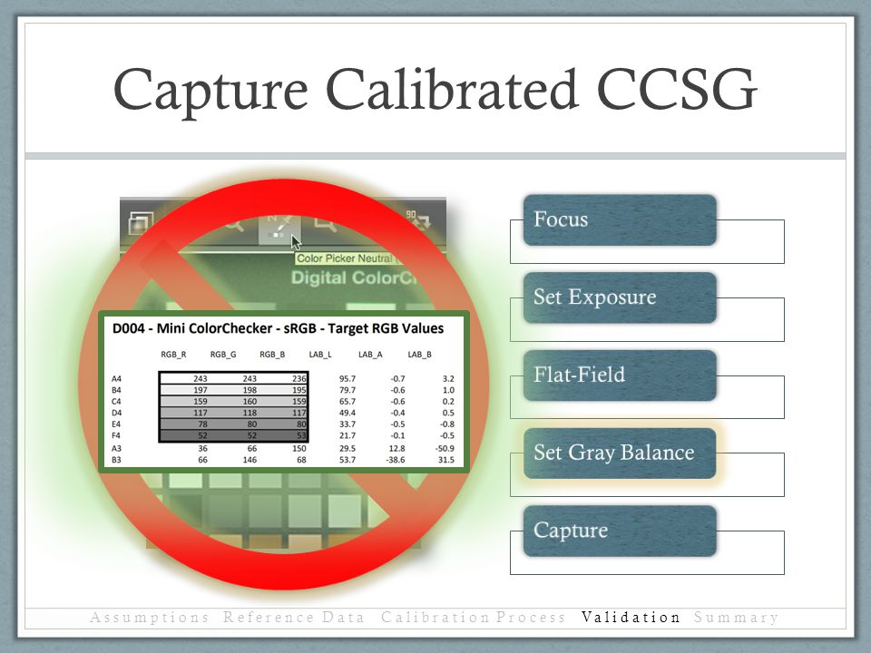 Capture Calibrated CCSG Assumptions Reference Data Calibration Process Validation Summary FocusSet ExposureFlat-FieldSet Gray BalanceCapture