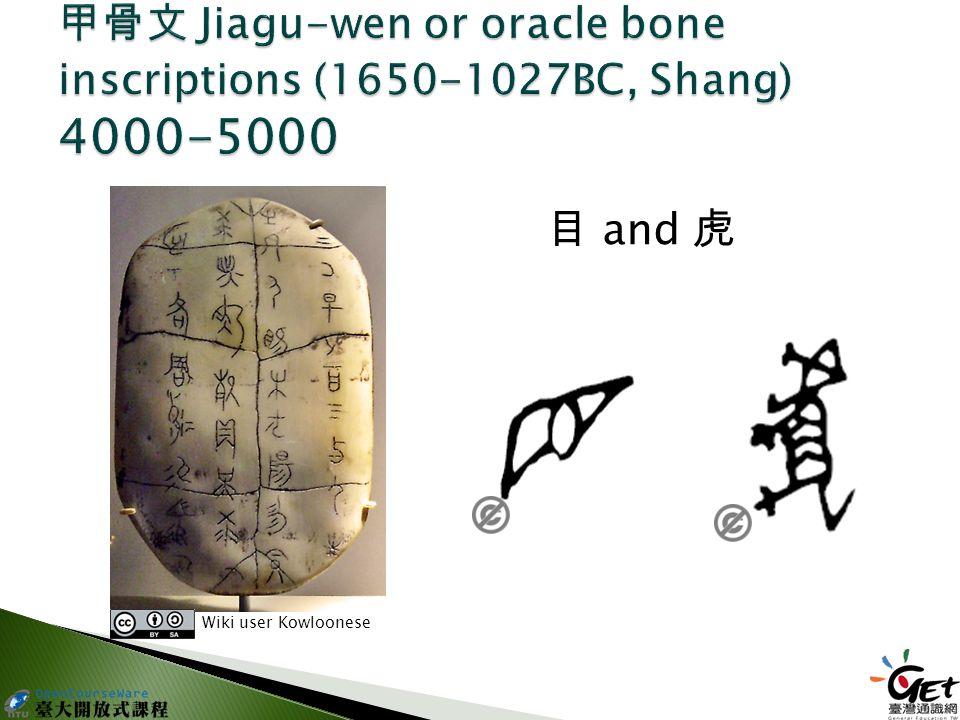 目 and 虎 Wiki user Kowloonese