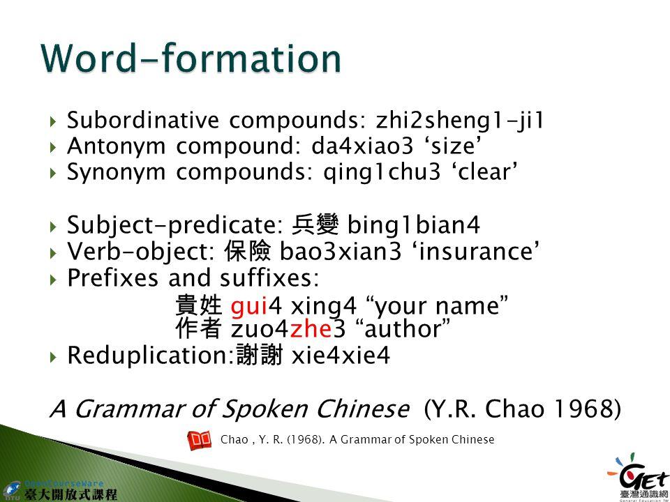  Subordinative compounds: zhi2sheng1-ji1  Antonym compound: da4xiao3 'size'  Synonym compounds: qing1chu3 'clear'  Subject-predicate: 兵變 bing1bian4  Verb-object: 保險 bao3xian3 'insurance'  Prefixes and suffixes: 貴姓 gui4 xing4 your name 作者 zuo4zhe3 author  Reduplication: 謝謝 xie4xie4 A Grammar of Spoken Chinese (Y.R.
