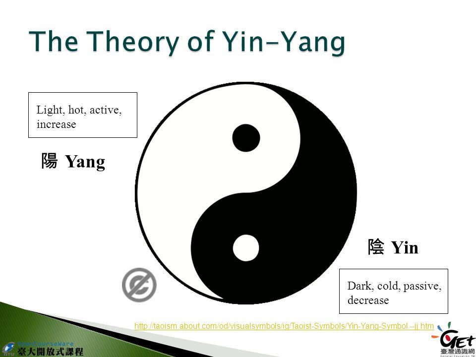 陽 Yang 陰 Yin Light, hot, active, increase Dark, cold, passive, decrease http://taoism.about.com/od/visualsymbols/ig/Taoist-Symbols/Yin-Yang-Symbol.--jj.htm