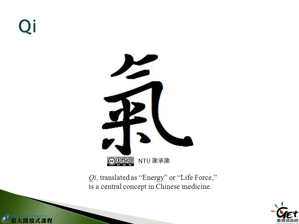 Qi, translated as Energy or Life Force, is a central concept in Chinese medicine. NTU 謝承諭