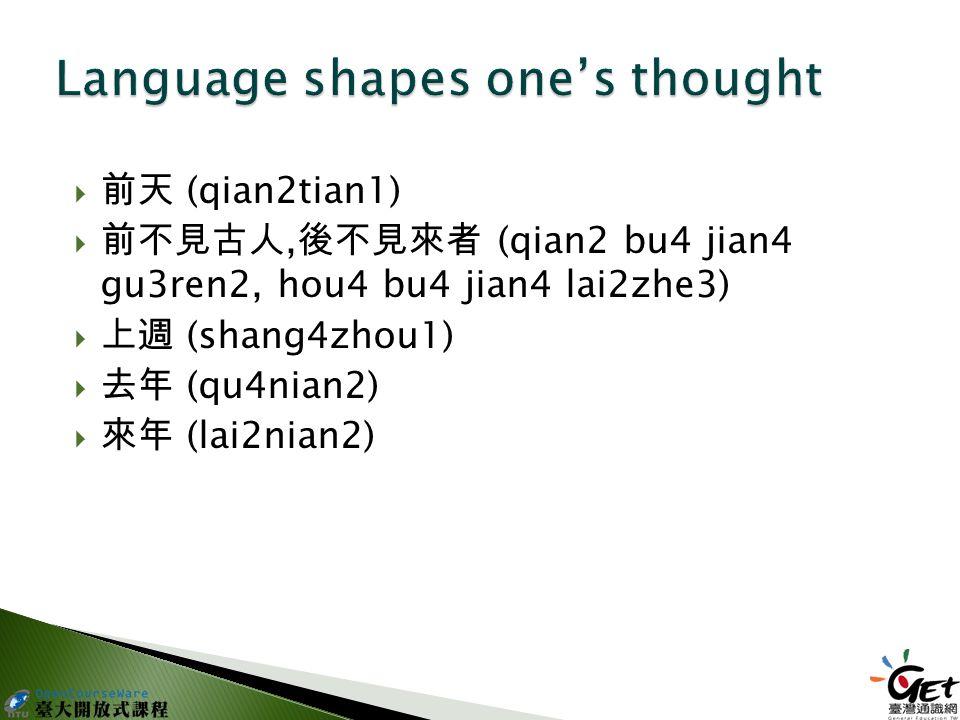  前天 (qian2tian1)  前不見古人, 後不見來者 (qian2 bu4 jian4 gu3ren2, hou4 bu4 jian4 lai2zhe3)  上週 (shang4zhou1)  去年 (qu4nian2)  來年 (lai2nian2)