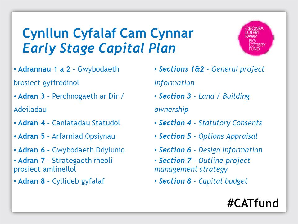 Cynllun Cyfalaf Cam Cynnar Early Stage Capital Plan Sections 1&2 - General project Information Section 3 - Land / Building ownership Section 4 - Statu