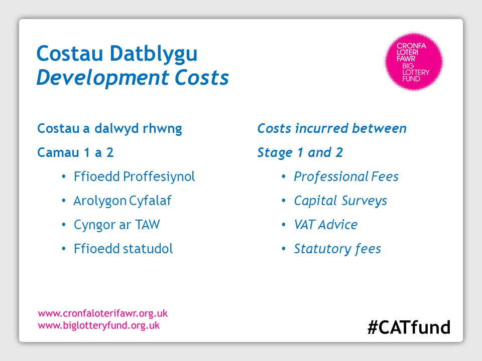 Costau Datblygu Development Costs Costs incurred between Stage 1 and 2 Professional Fees Capital Surveys VAT Advice Statutory fees Costau a dalwyd rhw