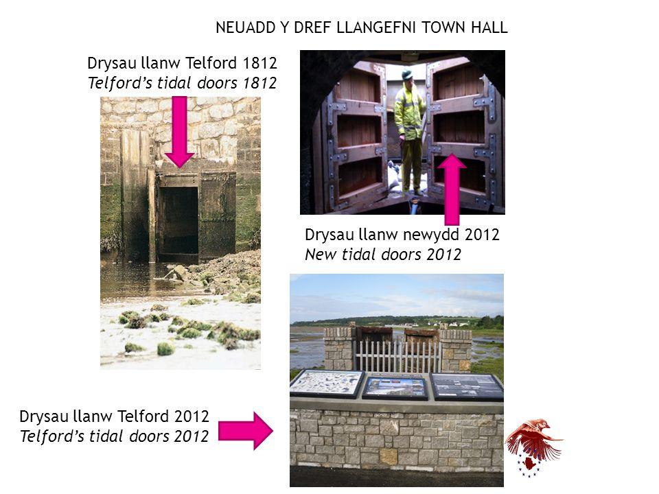 NEUADD Y DREF LLANGEFNI TOWN HALL Drysau llanw Telford 1812 Telford's tidal doors 1812 Drysau llanw Telford 2012 Telford's tidal doors 2012 Drysau llanw newydd 2012 New tidal doors 2012