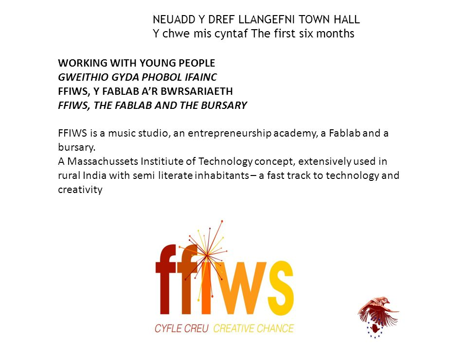WORKING WITH YOUNG PEOPLE GWEITHIO GYDA PHOBOL IFAINC FFIWS, Y FABLAB A'R BWRSARIAETH FFIWS, THE FABLAB AND THE BURSARY FFIWS is a music studio, an en
