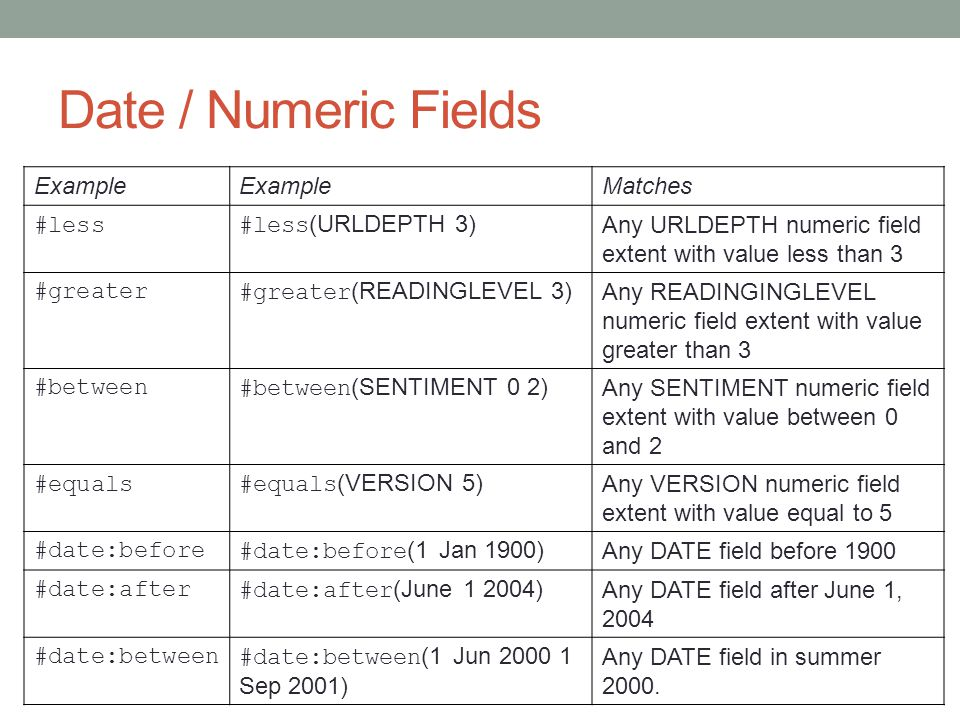 Date / Numeric Fields Example Matches #less#less (URLDEPTH 3) Any URLDEPTH numeric field extent with value less than 3 #greater#greater (READINGLEVEL