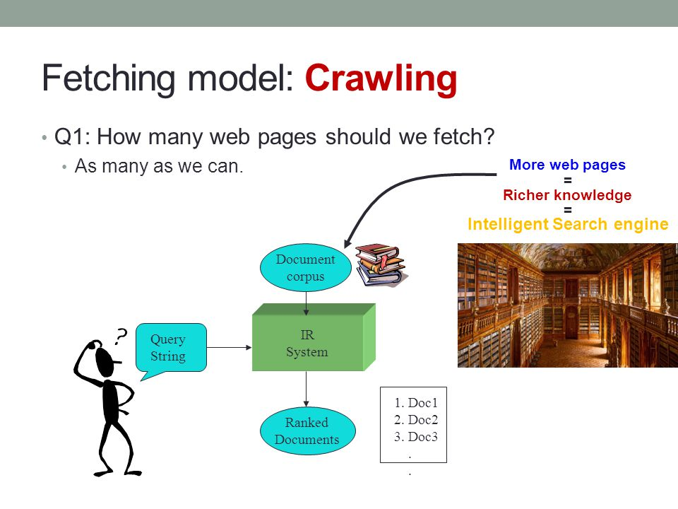 Fetching model: Crawling Q1: How many web pages should we fetch? As many as we can. IR System Query String Document corpus Ranked Documents 1. Doc1 2.