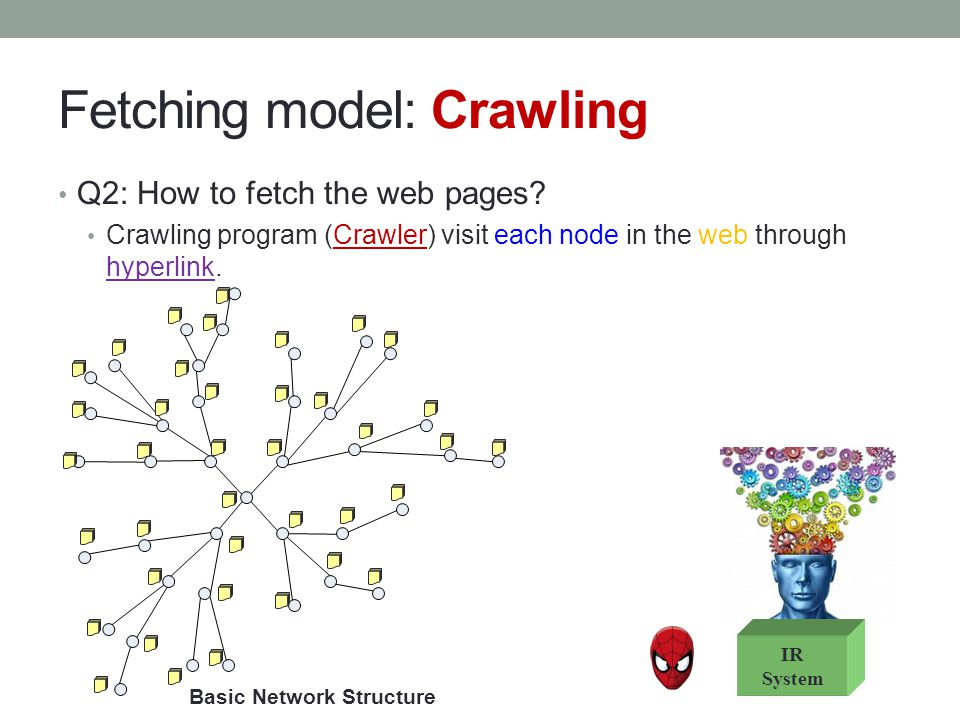 Fetching model: Crawling Q2: How to fetch the web pages? Crawling program (Crawler) visit each node in the web through hyperlink. Basic Network Struct