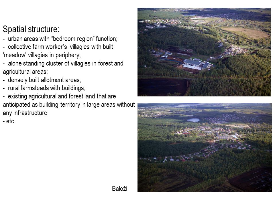 Spatial structure: - urban areas with bedroom region function; - collective farm worker's villagies with built 'meadow' villagies in periphery; - alone standing cluster of villagies in forest and agricultural areas; - densely built allotment areas; - rural farmsteads with buildings; - existing agricultural and forest land that are anticipated as building territory in large areas without any infrastructure - etc.