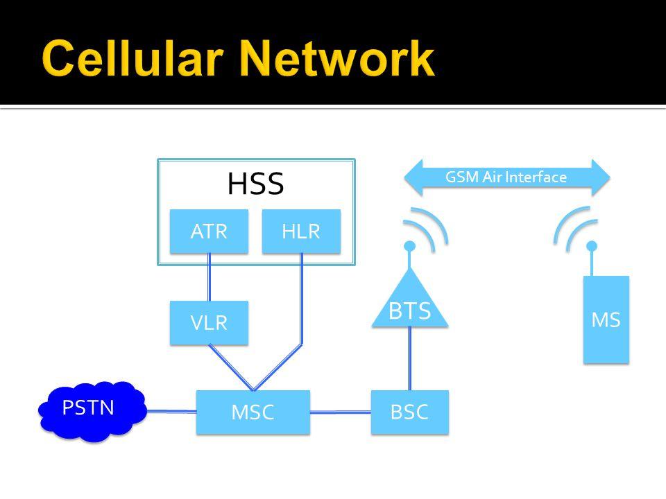 PSTN MSC BSC VLR ATR HLR HSS BTS MS GSM Air Interface