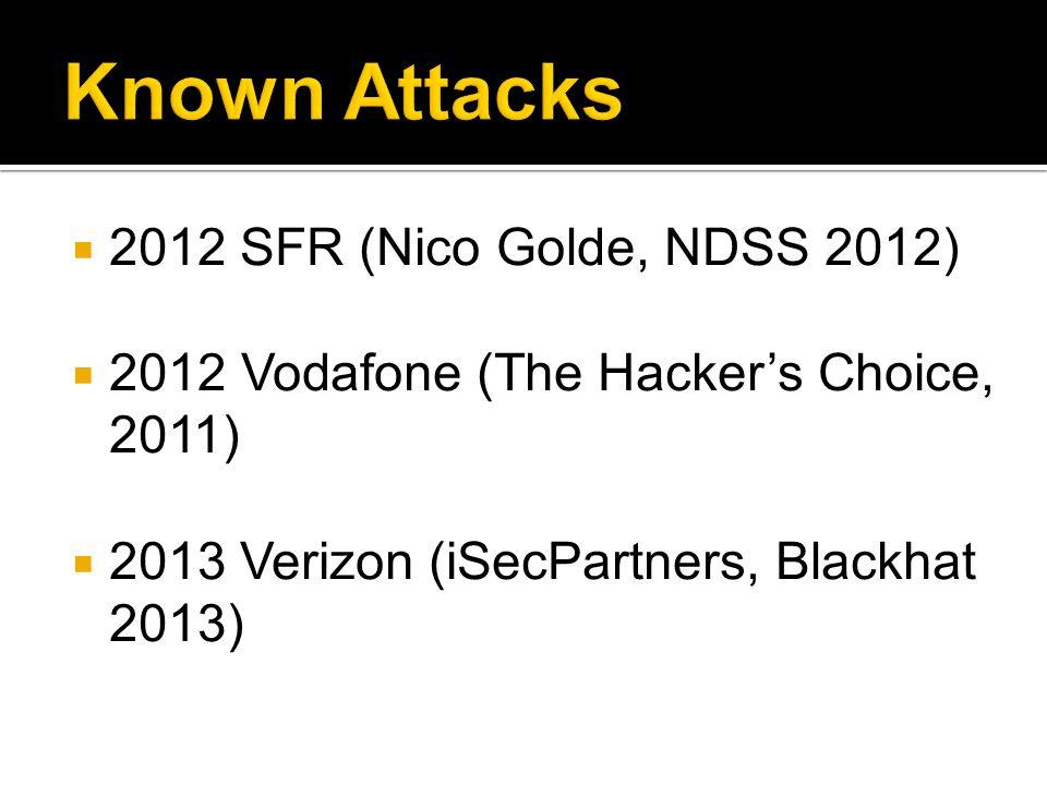  2012 SFR (Nico Golde, NDSS 2012)  2012 Vodafone (The Hacker's Choice, 2011)  2013 Verizon (iSecPartners, Blackhat 2013)
