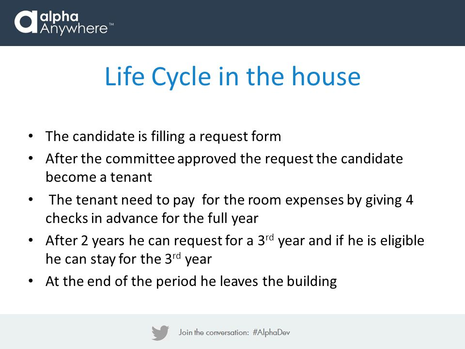 The candidate is filling a request form After the committee approved the request the candidate become a tenant The tenant need to pay for the room exp