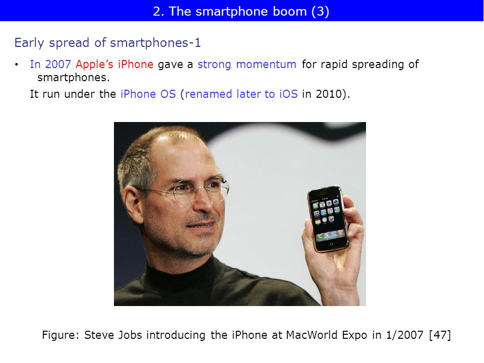 Early spread of smartphones-1 In 2007 Apple's iPhone gave a strong momentum for rapid spreading of smartphones.