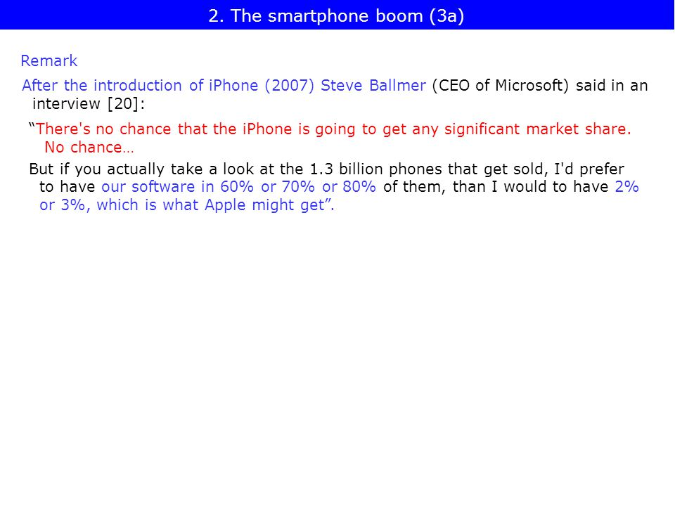 Remark After the introduction of iPhone (2007) Steve Ballmer (CEO of Microsoft) said in an interview [20]: There s no chance that the iPhone is going to get any significant market share.