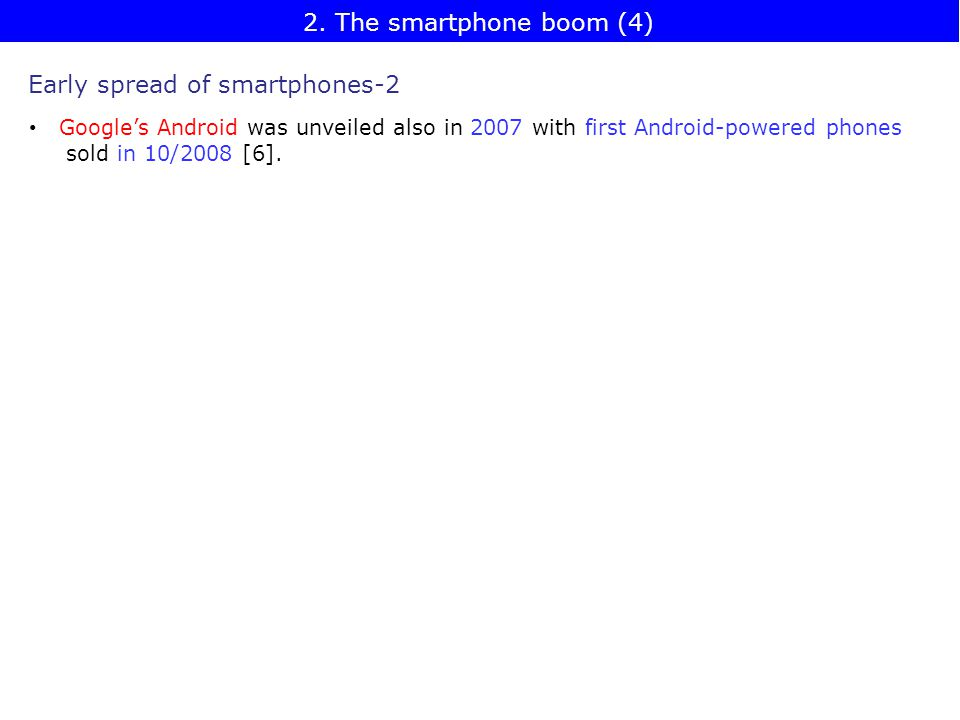 Early spread of smartphones-2 Google's Android was unveiled also in 2007 with first Android-powered phones sold in 10/2008 [6].