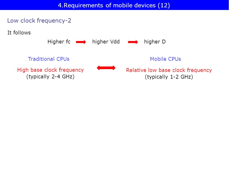 High base clock frequency (typically 2-4 GHz) Traditional CPUsMobile CPUs Relative low base clock frequency (typically 1-2 GHz) Low clock frequency-2 Higher fchigher Vddhigher D It follows 4.Requirements of mobile devices (12)