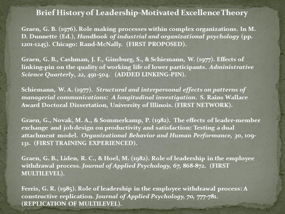 Brief History of Leadership-Motivated Excellence Theory Graen, G.