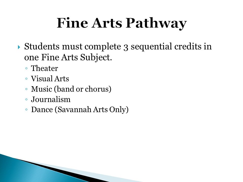  Students must complete 3 sequential credits in one Fine Arts Subject. ◦ Theater ◦ Visual Arts ◦ Music (band or chorus) ◦ Journalism ◦ Dance (Savanna