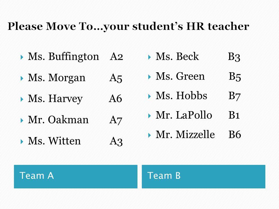 Team A Team B  Ms. Buffington A2  Ms. Morgan A5  Ms. Harvey A6  Mr. Oakman A7  Ms. Witten A3  Ms. Beck B3  Ms. Green B5  Ms. HobbsB7  Mr. LaP