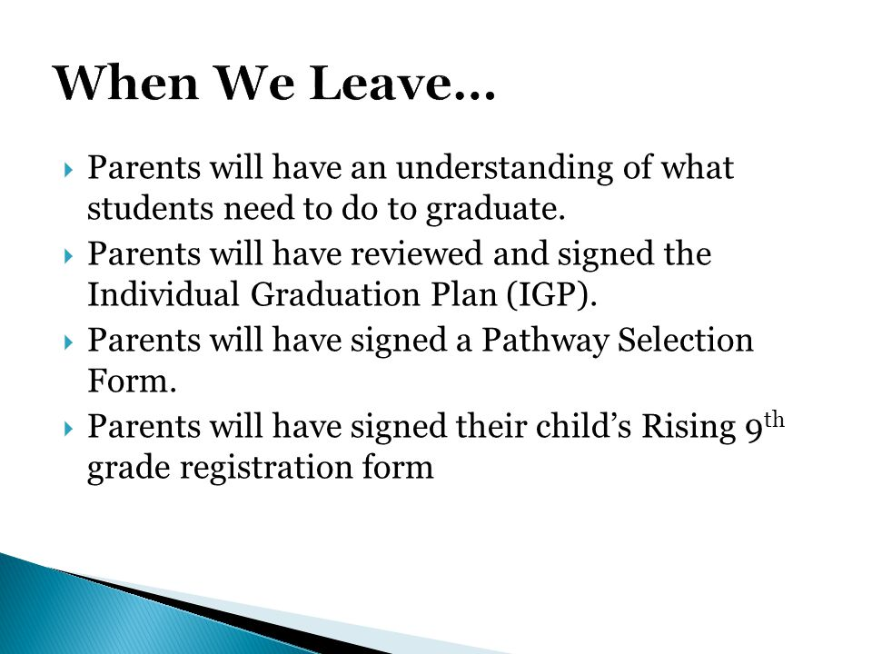  Parents will have an understanding of what students need to do to graduate.  Parents will have reviewed and signed the Individual Graduation Plan (
