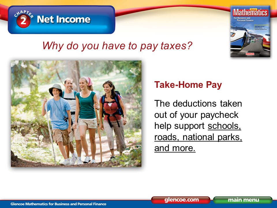 Take-Home Pay The deductions taken out of your paycheck help support schools, roads, national parks, and more. Why do you have to pay taxes?