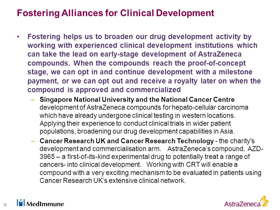 Fostering Alliances for Clinical Development Fostering helps us to broaden our drug development activity by working with experienced clinical development institutions which can take the lead on early-stage development of AstraZeneca compounds.