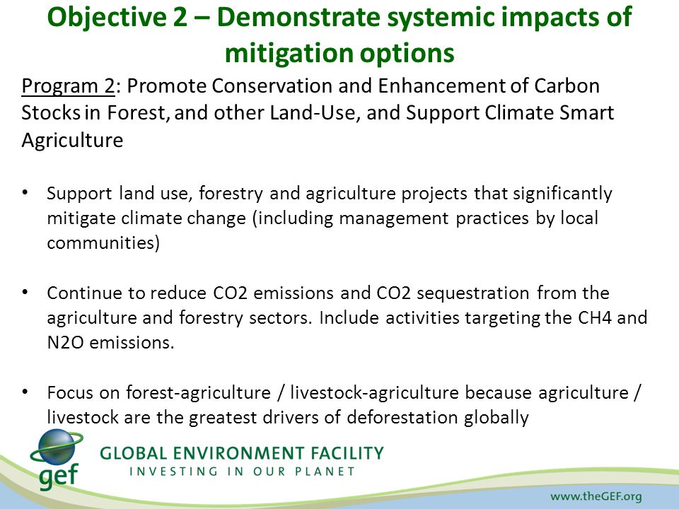 Objective 2 – Demonstrate systemic impacts of mitigation options Program 2: Promote Conservation and Enhancement of Carbon Stocks in Forest, and other Land-Use, and Support Climate Smart Agriculture Support land use, forestry and agriculture projects that significantly mitigate climate change (including management practices by local communities) Continue to reduce CO2 emissions and CO2 sequestration from the agriculture and forestry sectors.