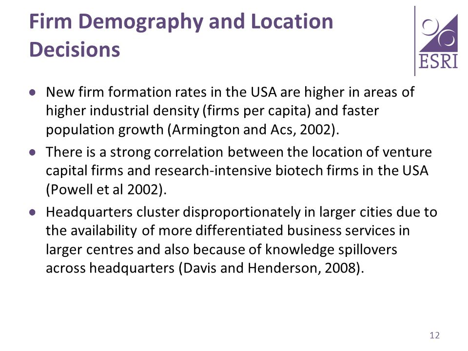 Firm Demography and Location Decisions New firm formation rates in the USA are higher in areas of higher industrial density (firms per capita) and faster population growth (Armington and Acs, 2002).