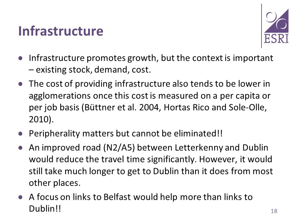 Infrastructure Infrastructure promotes growth, but the context is important – existing stock, demand, cost.