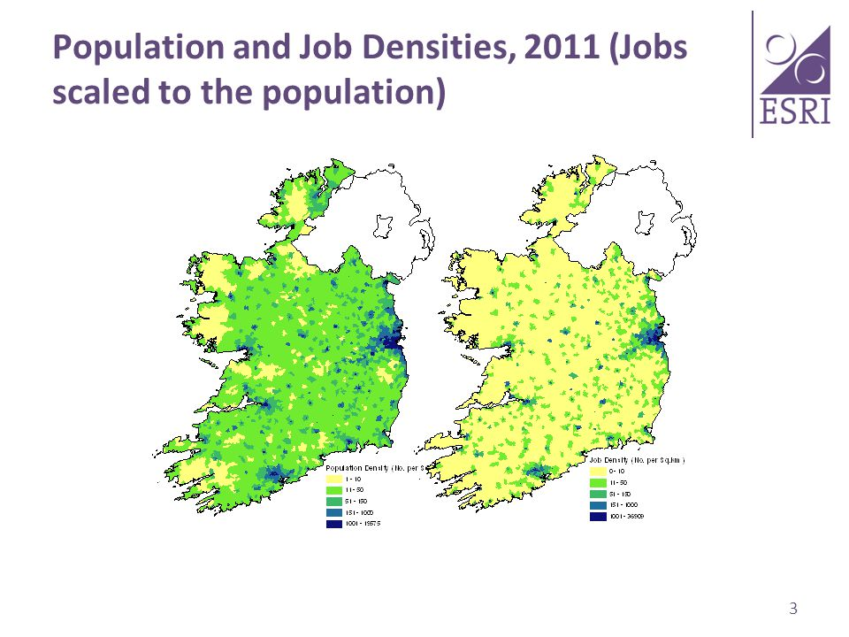 Population and Job Densities, 2011 (Jobs scaled to the population) 3