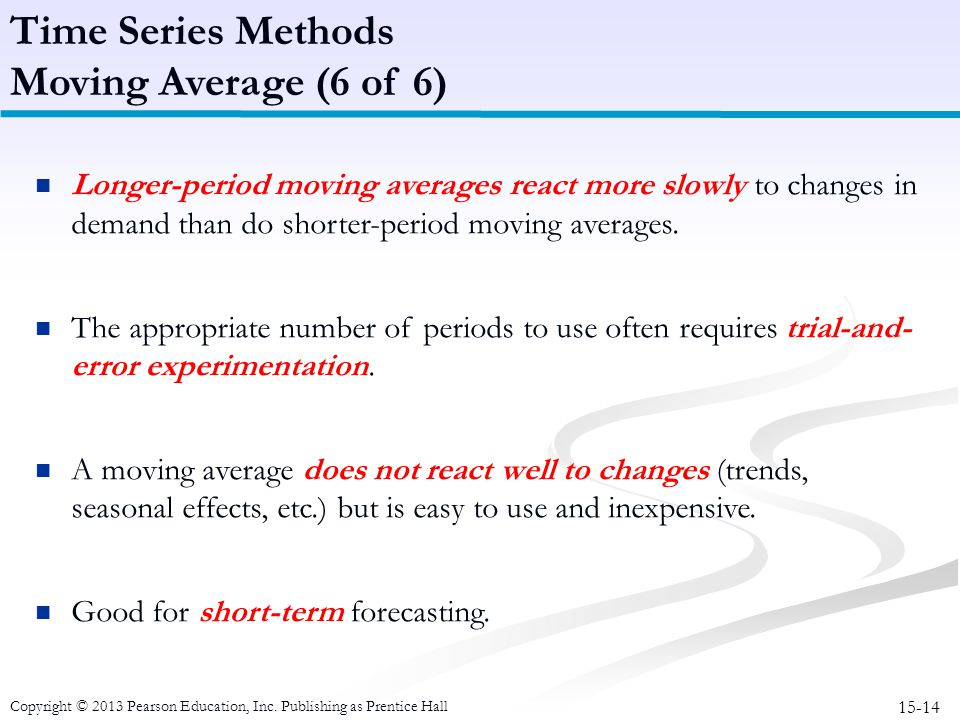 15-14 Copyright © 2013 Pearson Education, Inc. Publishing as Prentice Hall Time Series Methods Moving Average (6 of 6) Longer-period moving averages r