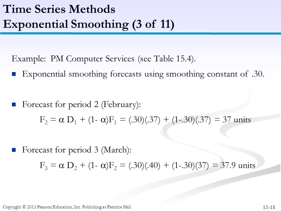 15-18 Copyright © 2013 Pearson Education, Inc. Publishing as Prentice Hall Example: PM Computer Services (see Table 15.4). Exponential smoothing forec
