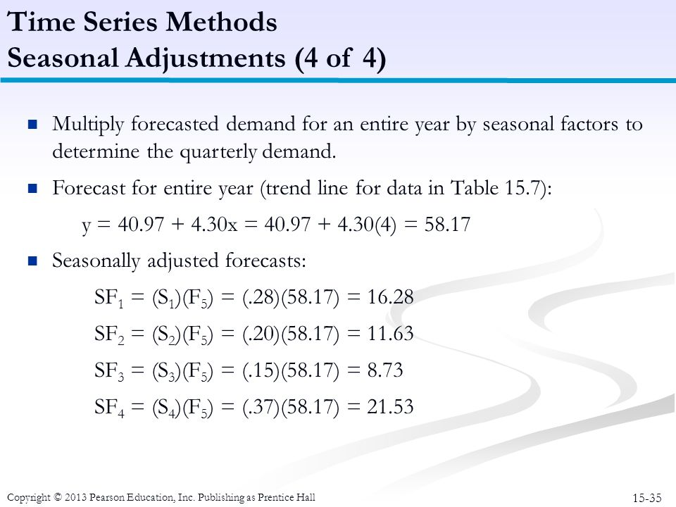 15-35 Copyright © 2013 Pearson Education, Inc. Publishing as Prentice Hall Multiply forecasted demand for an entire year by seasonal factors to determ