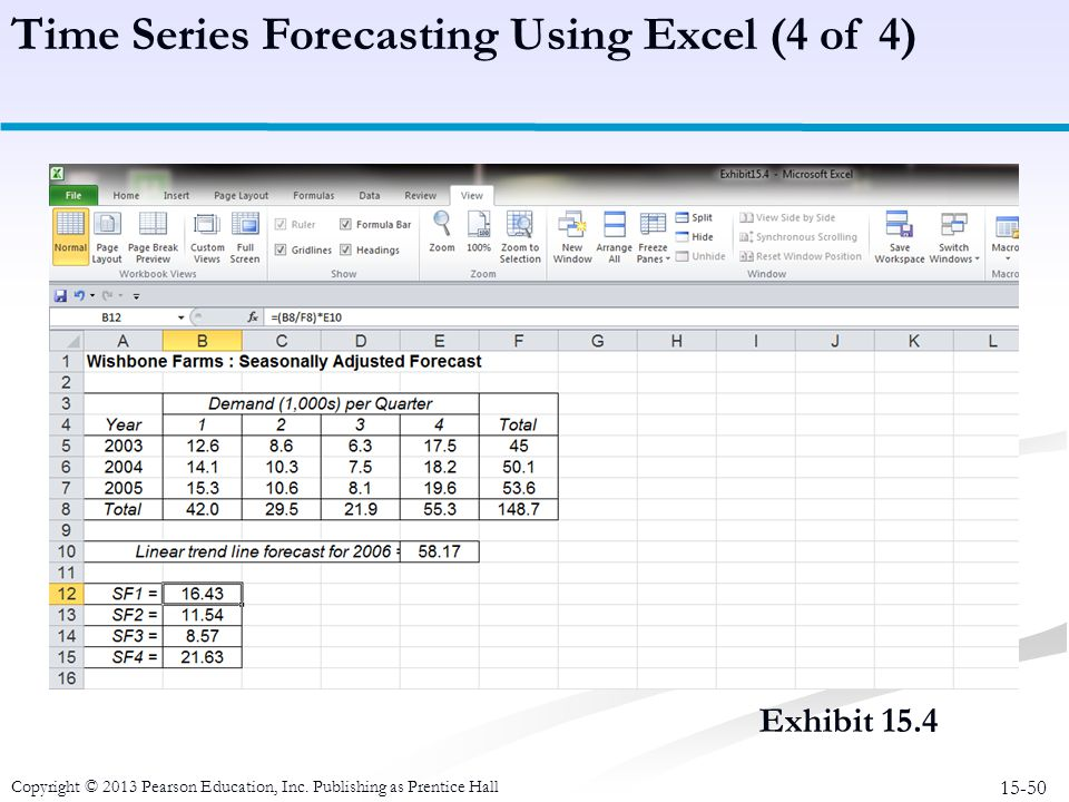 15-50 Copyright © 2013 Pearson Education, Inc. Publishing as Prentice Hall Exhibit 15.4 Time Series Forecasting Using Excel (4 of 4)