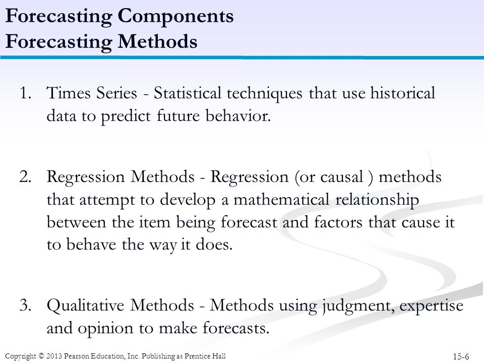 15-6 Copyright © 2013 Pearson Education, Inc. Publishing as Prentice Hall Forecasting Components Forecasting Methods 1.Times Series - Statistical tech