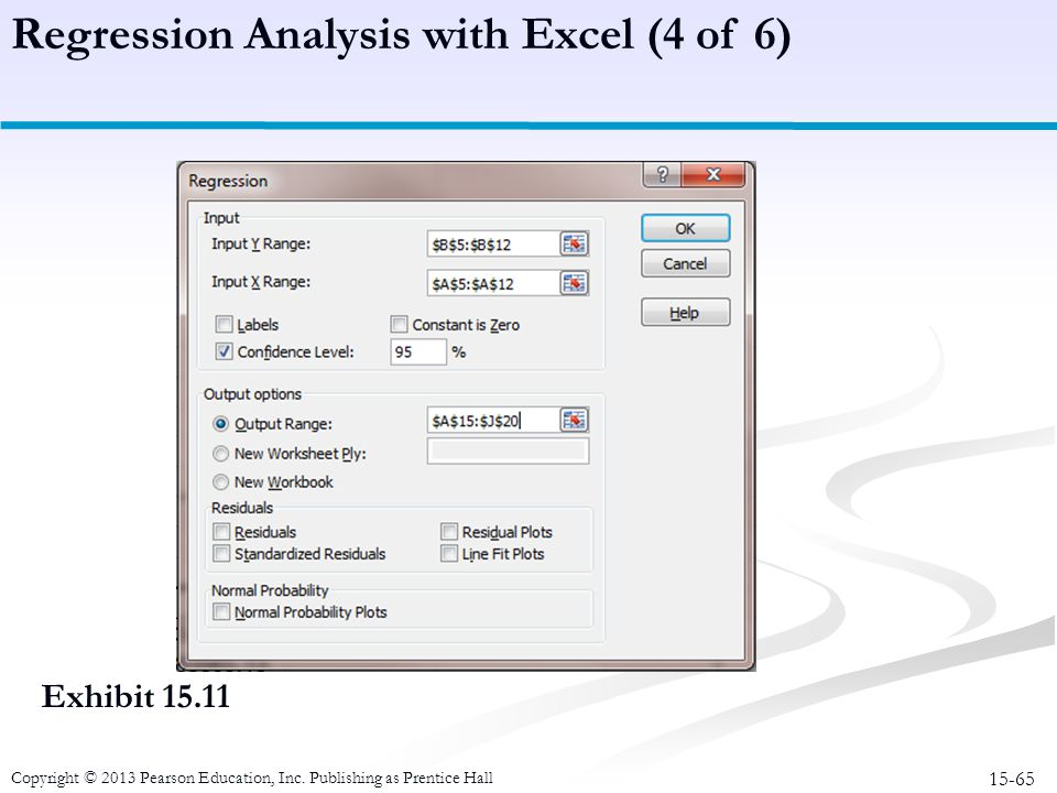 15-65 Copyright © 2013 Pearson Education, Inc. Publishing as Prentice Hall Exhibit 15.11 Regression Analysis with Excel (4 of 6)