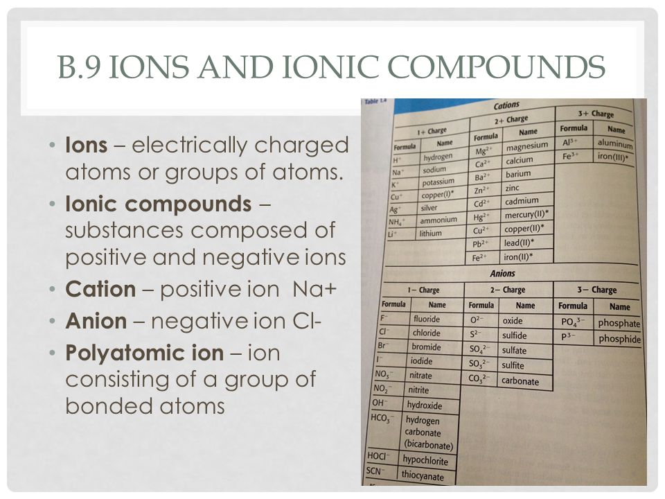 B.9 IONS AND IONIC COMPOUNDS Ions – electrically charged atoms or groups of atoms.
